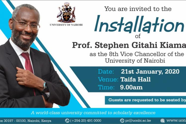 INSTALLATION OF PROF. STEPHEN G. KIAMA AS VC